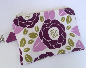 Purple Floral Small Zippered Pouch