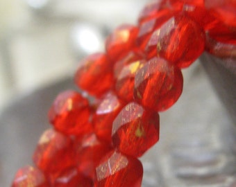 Czech Glass Beads Cherry Red with Gold Luster Faceted Fire Polished Beads 4mm or 3mm 50 pieces