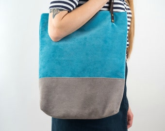 Large Tote Colorblock bag Blue Grey Leather handles