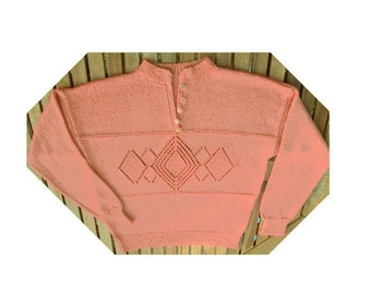 Women's ladies orange tangerine hand knitted long sleeved lacy sweater jumper with lace panel