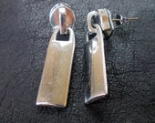 Sale - zipper earrings, silver tone, edgy, recycled, industrial, modern zipper jewelry