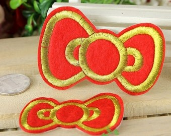 Iron on Fabric Patch - Red Bows - Set of 2 - FP68
