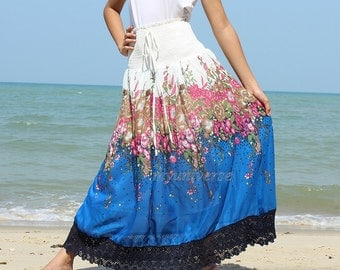 A Line Skirt Maxi Skirt Floral Long Skirt Party Women Skirt Gifts Idea Skirt Ladies Skirt Chiffon Summer Wear