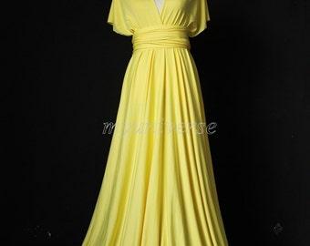 Bridesmaid Dress Wedding Dress Infinity Dress Wrap Convertible Dress Evening Dress Yellow Daffodil
