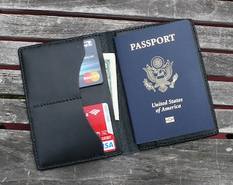 Passport Wallet - Hand Stitched Black Leather Passport Cover by GARNY  - ap