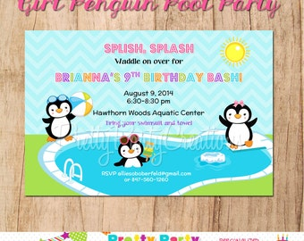 GIRL PENGUIN pool party invitation - YOU Print