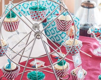 VINTAGE CIRCUS red or pink cupcake toppers and matching wrappers - U PRINT