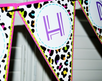 RAINBOW LEOPARD pennant banner - You Print - Instant Download