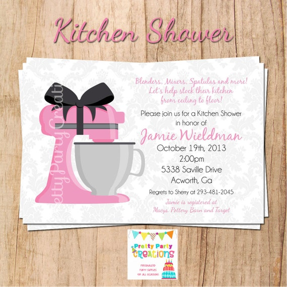 KITCHEN SHOWER invitation - wedding shower - other colours available