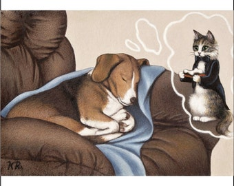 dog beagle cat bone aceo art print From original painting chair blanket animals Karen Romine KR limited edition Sweet Doggie Dreams