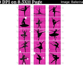 Buy ONE get FOUR FREE 2 Inch Squares Glass Tiles Magnets Scrapbooking 15 Ballerina Collection Images