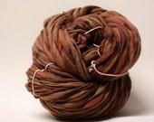 Handspun Thick and Thin Yarn Wool Slub  tts(tm) Merino Hand dyed One-Pounder Russet Super Bulky