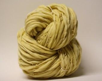 Yarn Thick and Thin Handspun Wool Slub  tts(tm) Merino Hand dyed One-Pounder Jonquil Super Bulky