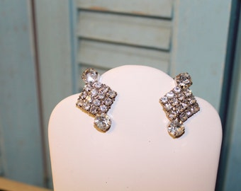 Rhinestone Clip on Earrings Diamond shape