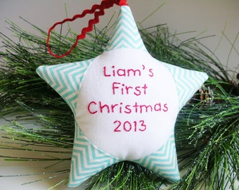 Baby's First Christmas Ornament Personalized Chevron Star