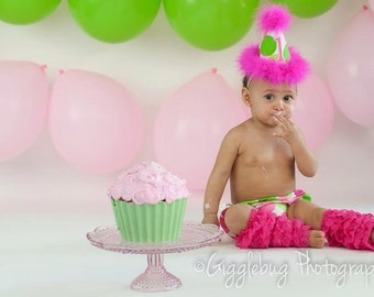 2 Piece Birthday Girl Outfit in Hot Pinks and Lime Green Disco Dot Polka Dot Print
