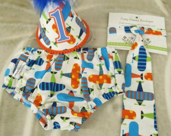 Baby Boy First Birthday Outfit Necktie Party Hat & Diaper Cover First Birthday Photo Cake Smash Outfit in Blue Orange Planes