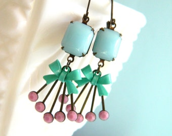 Spring Earrings, Pastel Earrings, Retro Earrings,Vintage Bow Earring, Blue, Mint, Pink, Shabby Chic Earrings, Retro Jewelry, Art Deco