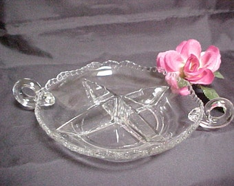 Vintage Cambridge Gadroon Crystal 4 Part Relish With Loop Handles, Elegant Collectible Glass Dinnerware Pattern, Mid Century Serving Piece