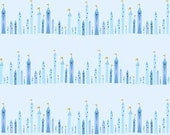 Tower Stripe in Blue Fabric, Castle Peeps, Lizzy House for Andover Fabrics, Half Yard