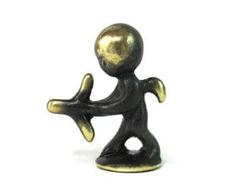 Walter Bosse Cupid Figurine - Vintage Mid Century Original Austrian 1960s Brass Angel Miniature Figurine