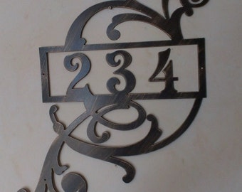 Large House Number Address Sign With Scroll, Wall decor, Metal Art