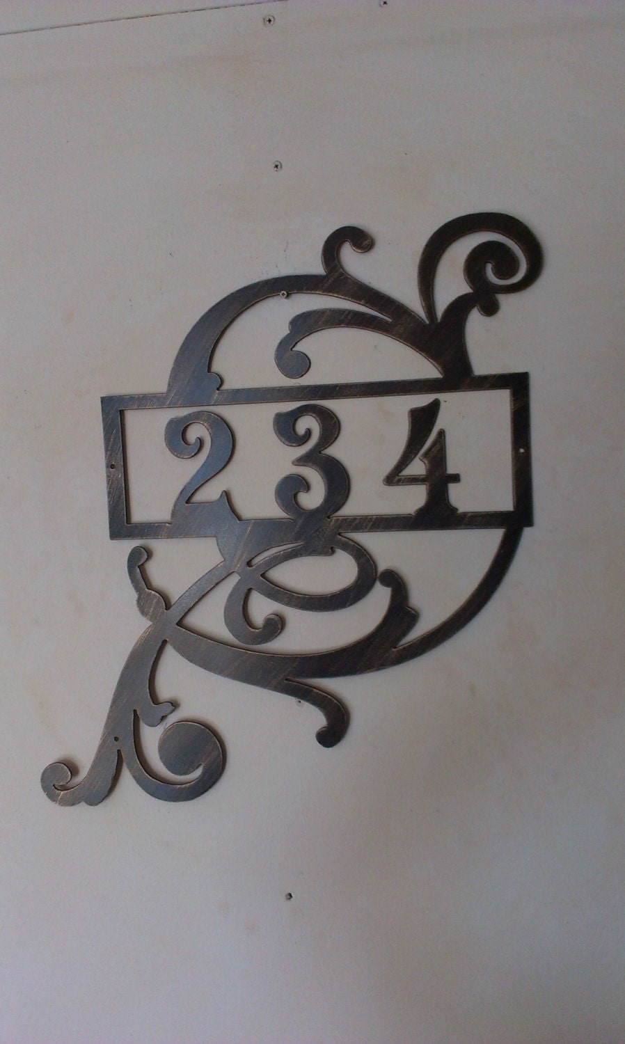 Large Number Wall Decor : Large house number address sign with scroll wall decor metal