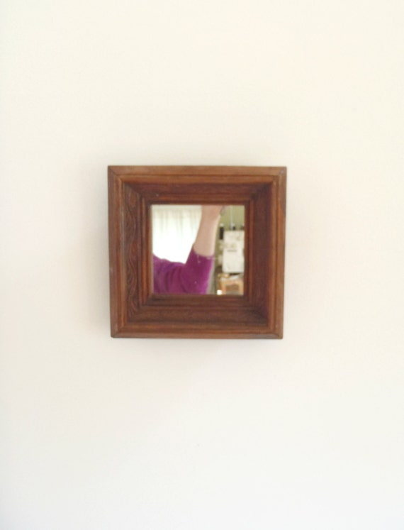 Vintage small wood framed mirror wall hanging mirror for Small hanging mirror