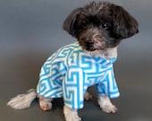 Warm Dog Sweater - Turquoise and White Fleece Dog Sweater