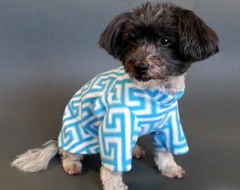 Dog Pajamas, Dog PJs, Dog Sweater - Turquoise and White Greek Key Design