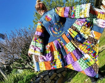 wonderland rainbow festival coat.... recycled.. patchwork denim jacket