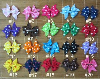 Set of 20 pieces 3 inch baby hair bow, 20 dots colors to choose, you can pick colors, attached with a 45mm single prong alligator clip
