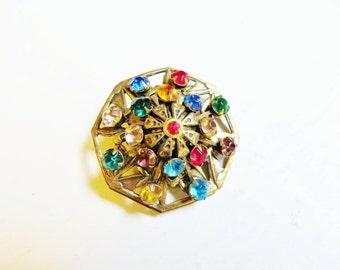 Vintage Rhinestone Brooch Brass Filigree Fruit Salad Stones 1940s Jewelry