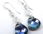 Whimsical Aquamarine Vitrail Light Swarovski Briolette Earrings