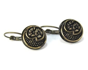 Gold and Black Speckled Flower Czech Glass Button Earrings