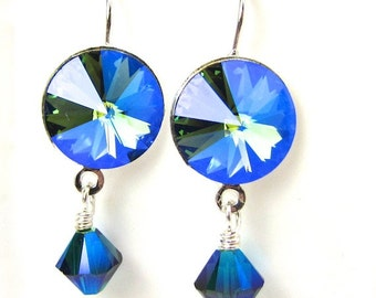 Swarovski Denim Blue Glacier Blue Crystal Earrings in Silvertone Setting