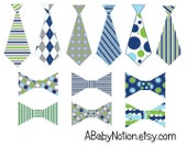 Navy, aqua, lime & gray tie decal and bowtie set