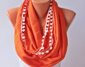 Orange  infinity scarf with pompom trim  ,circle scarf,Loop scarf soft pashmina scarf