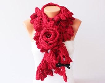 Red crochet  ruffle scarf, long crochet scarf