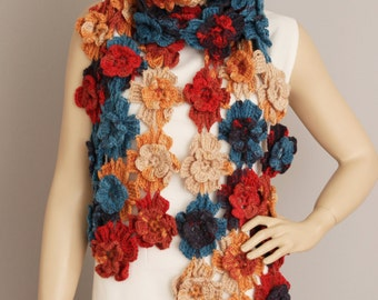 crochet scarf ,flower  crochet scarf, soft acrylic crochet scarf