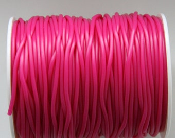 Neon Pink Rubber cord 2mm Pink Hollow Rubber tubing rubber cord S 40 083