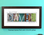 Personalized Name Print in COLOR, FRAMED alphabet photography, photo name art, wedding signage