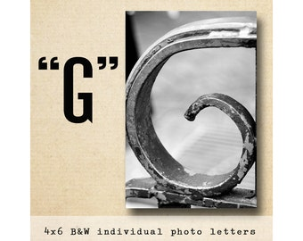 Letter G Alphabet Photography  Black and White  4x6 Photo Letter UNFRAMED