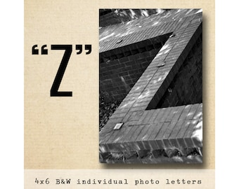 Letter Z Alphabet Photography Black and White 4x6 Letter Photo
