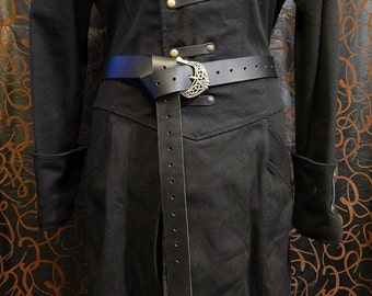 Medieval long belt with celtic buckle. Very high quality 9oz leather belt. Viking, LARP, SCA