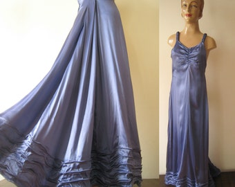 1930s vintage blue liquid satin floor length ball gown DRESS size xs with small train and braided straps small size 30s