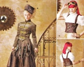 Steampunk Jacket, Cincher and Ruffled Skirt Pattern Simplicity 1558 (Womens sizes 6-8-10-12)