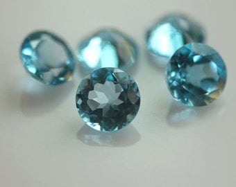8mm Facet Cut Swiss Blue Topaz - 1 piece