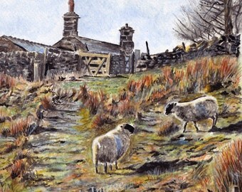 Meeting Place- English countryside LARGE A4 A3 or A2 Art Print of original watercolor painting by English Artist Steve Russell of RussellArt