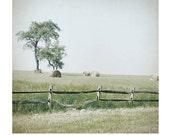 Landscape Art print, Farm Photo,  farm print, wooden fence, country scene, hay bales, field, farmhouse chic, pale, green, mint